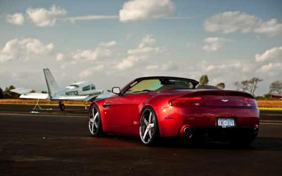 полоса, martin, aston, самолёт, red, взлетная, vantage, машина,