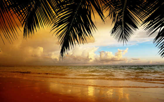 пляж, zakat, пейзаж