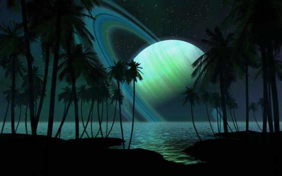 красивые, cosmos, сатурн, planet, космосе, рисованные,, космоса,