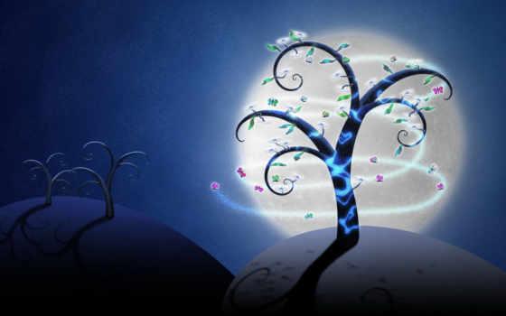 небо, луна, ночное, бабочки, дерево, ночь, blue, desktop,
