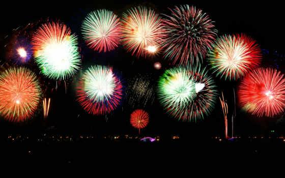 new, год, fireworks, car, black,