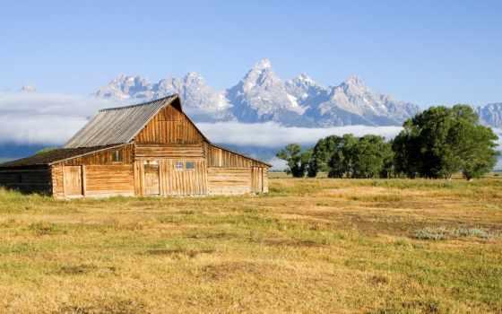красивые, природа, national, гор, house, пейзажи -, алтарь, teton,