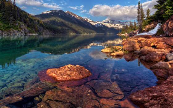 landscape, горы, снег, лес, озеро, скалы, небо, oblaka, склон, trees, water,