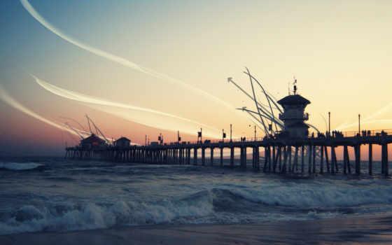 море, pier, закат, waves, монитора, дек, abstrakt, линии, корабли, кб, прислал,