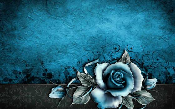 vintage, текстура, роза, цвета, бумага, blue, grunge,