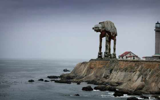 wars, star, lighthouse, point, море, arena, more, game,