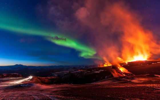 сияние, северное, вулкана, iceland, fimmvorduhals, горы, извержение, элемент,