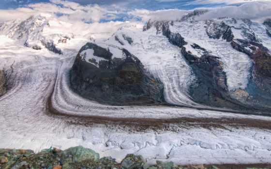 красивые, glacier, swiss, небо, снег, just, горы, gorner, фотографий,