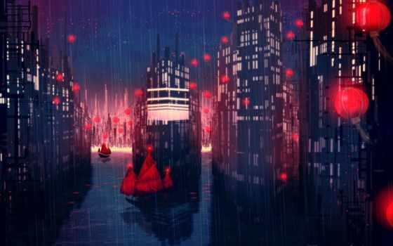 дождь, город, корабли, проливной, ночь, красными, redlamp, eastern, красные, art, ночном,
