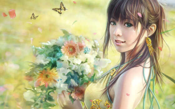 windows, цветы, free, стиле, рисунок, themes, download, anime, girl, girls, фэнтези, lin, бабочки, fantasy, вышивки, theme, букет, chen, букетом,