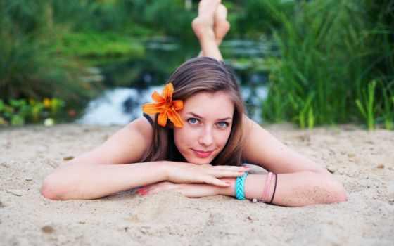 девушка, cute, пляж