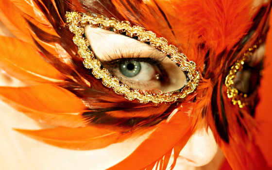 глаз, маска, перьев
