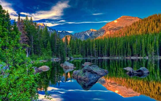 природа, озеро, лес, oblaka, горы, water, красивые,