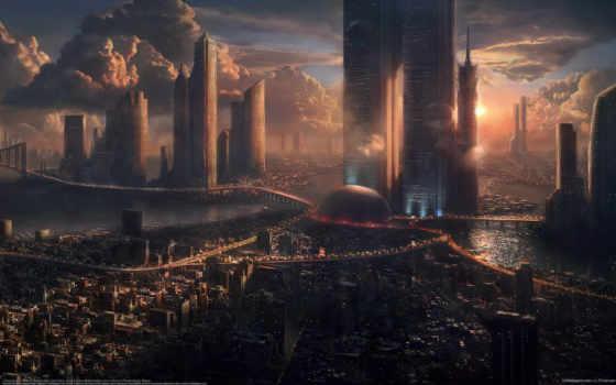 город, будущего, графика