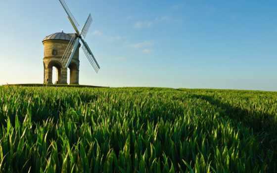 поле, mill, ветряк, трава, зелёный, небо, desktop,
