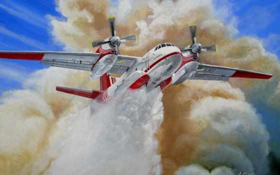 пожарный, ан, авиация, картинка, art, самолёт, рисунки, самолеты, рисованные, небо, migar,