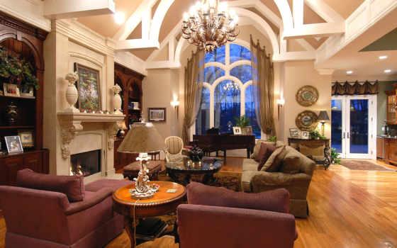 интерьер, design, камин, lounge, окно, интерьера, гостиной, house, кресло, диван, интерьеры,