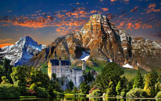 german, дома, park, озеро, trees, landscape, naturaleza, castle, горы, garden, national,