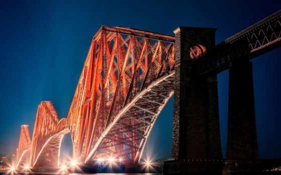 мост, прочие, scotia, эдинбург, город, форт,