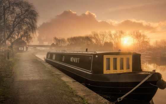 утро, desktop, лодка, туман, озеро, теме, carmen,