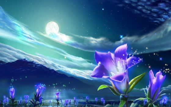 луна, луной, ночь, landscape, под, спокойной, ночи, небо, ночные,