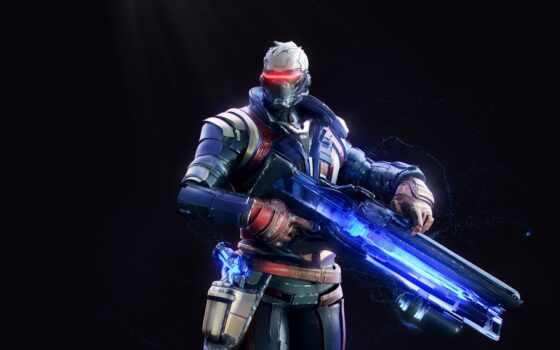 overwatch, солдат, game, композиция, art, artwork
