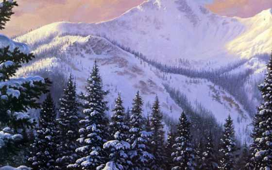 зима, снег, горы, картина, елки, день, картинка, обоев, painting, cover, timeline,