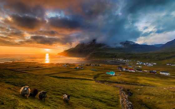 faroe, islands, famjin, danish, горы, деревня, природа, море, denmark, побережье,