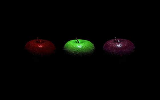 fone, черном, яблока, трио, яблоки,