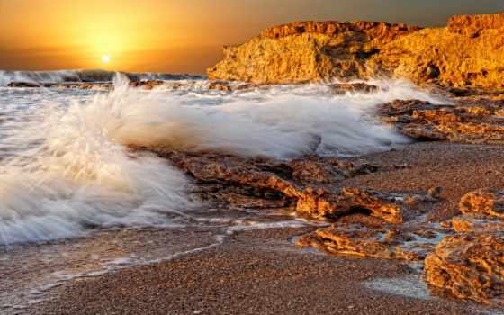 море, берег, закат, камни, sun, моря, утро, рассвет, берегу, ilia, гладких,