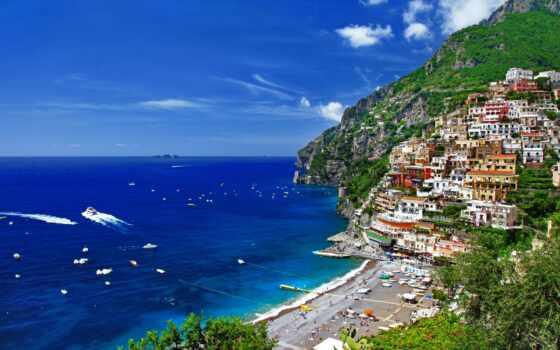 гора, море, город, house, italian, trees, italy, природа