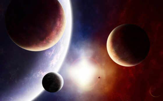 космос, планета, спутники, солнце, краски, свет, звезда, разное, art, digital, международной, под, теме,