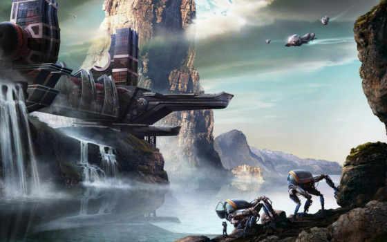 горы, скалы, роботы, фантастика, сооружение, арт, корабли,