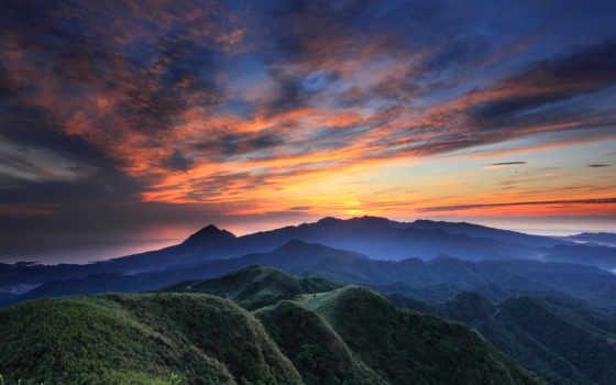 закат, вечер, горы