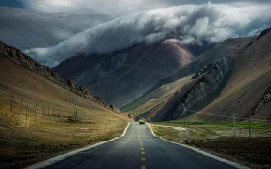 дорога, машина, дороги, дороге, разметки, тучи, горы, год, tibet,