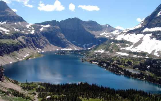 national, park, glacier, montana, usa, озеро, hidden, изображение, паркс, природа, mountains,