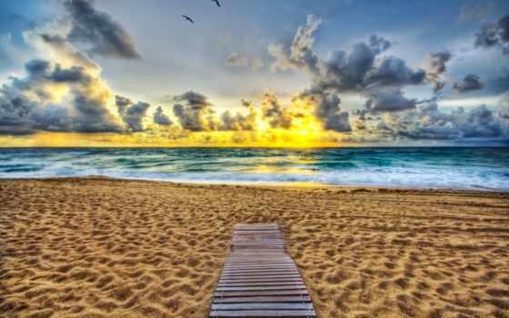 ocean, пляж, дорога, кнут, palm, florida, rising, океану,