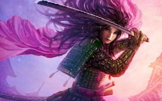 anime, девушка, оружием, devushki, милитари, меч, катана, картинка, art, руках,