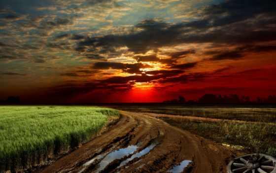 сол, campo, paisagem, estrada, parede, fondos, carretera, puesta, para, рода,