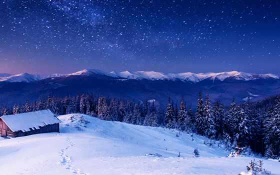 горы, winter, lodge, лес, landscape, снег, фотообои, млечный, горах, путь, scn,