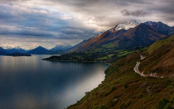 новая, zealand, озеро, new, queenstown, wakatipu, горы, landscape, пейзажи -,