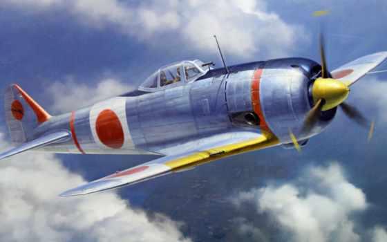 ww, истребитель, war, art, japanese, живопись, airplane,