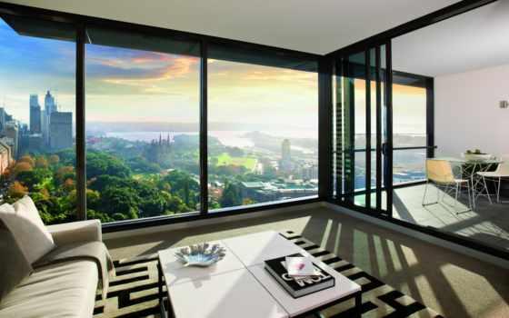 окна, комната, крыши