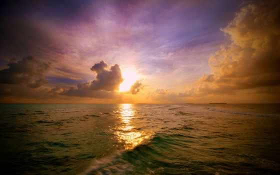 rising, rays, sun