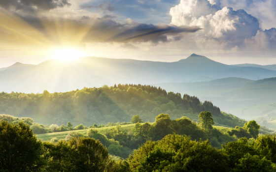 небо, landscape, холмы, природа, зелёный, trees, горы, oblaka, summer,
