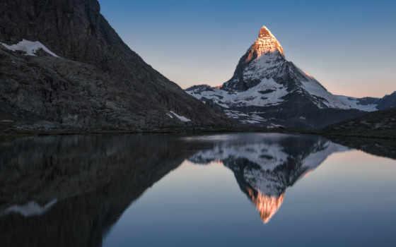 закат, маттерхорн, горы, zermatt, summer, landscape, качественных, леса, природа,