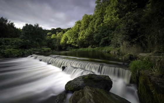 река, природа, falls, водопады, пейзажи -, wisconsin, красивые, бамбук, university,