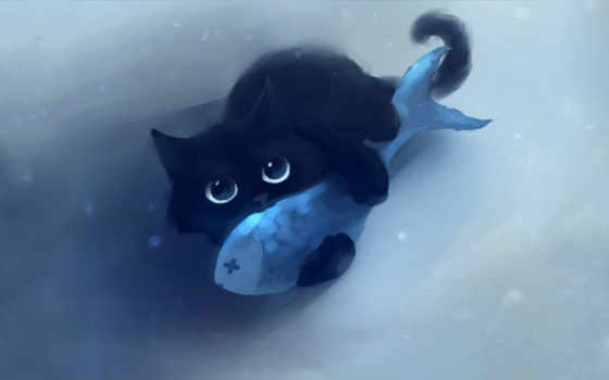 кот, fish, котэ, взгляд, свет, кота, рыбой, рисунок, рыбалка,