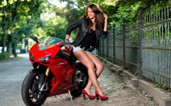 мотоцикл, devushka, poza