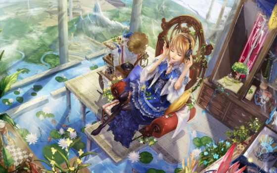 anime, девушки, весна